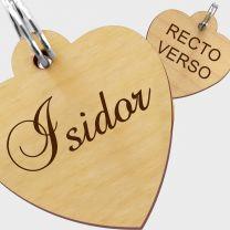 Médaille bois gravée coeur S