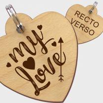 Médaille bois gravée coeur L