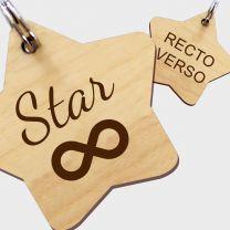 Médaille bois gravée étoile L