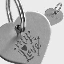 Médaille métal argenté gravé coeur S