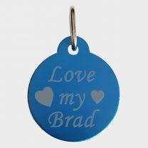 Médaille métal bleu gravé rond 27 mm