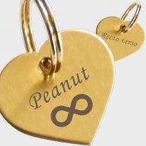 Médaille métal doré gravé coeur S