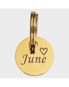 Médaille métal doré gravé rond 16 mm