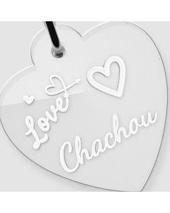 Médaille Plexiglas gravée coeur L